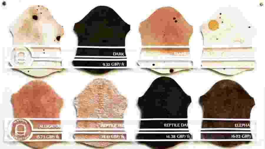"""As tonalidades de couro artificial usadas na coleção """"Pure Human"""" - Divulgação"""