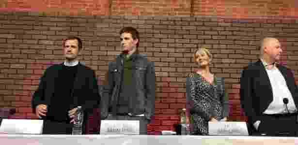 """10.nov.2016 - O produtor David Heyman, o ator Eddie Redmayne, a autora J.K. Rowling e o diretor David Yates em coletiva de """"Animais Fantásticos e Onde Habitam"""", em NY - Natália Engler/UOL"""