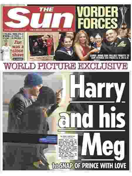 Tabloide The Sun publica foto do príncipe Harry com a nova namorada, Meghan Markle, na capa - Reprodução/Twitter/thesun
