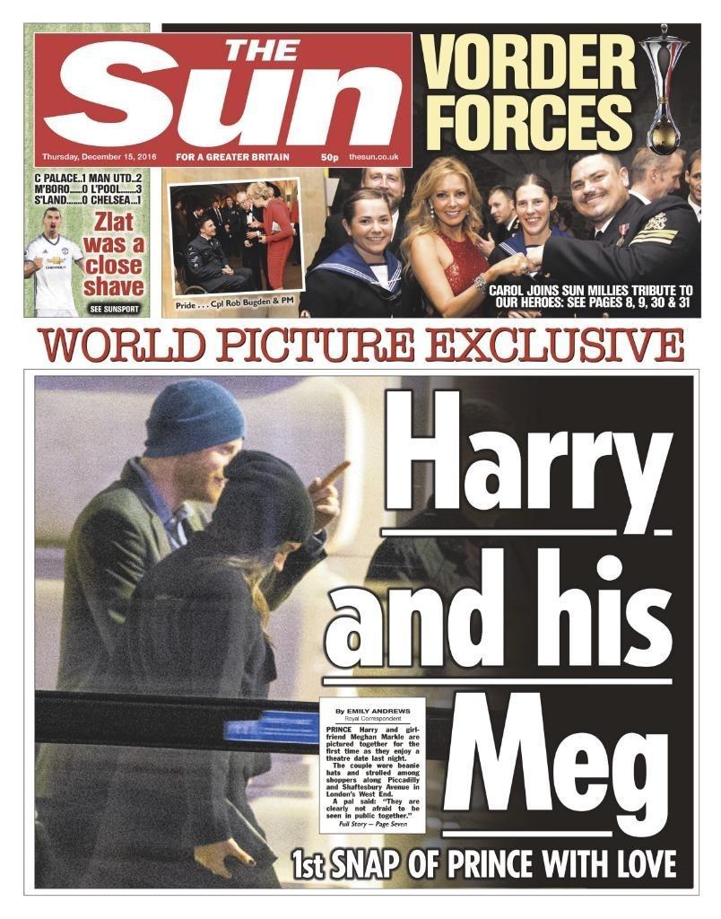 Tabloide The Sun publica foto do príncipe Harry com a nova namorada, Meghan Markle, na capa