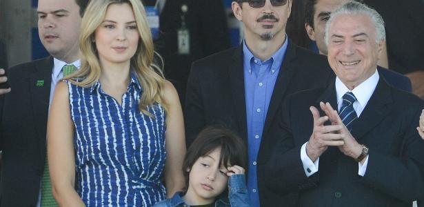 Temer assistiu à festa com a mulher, Marcela, e o filho Michelzinho