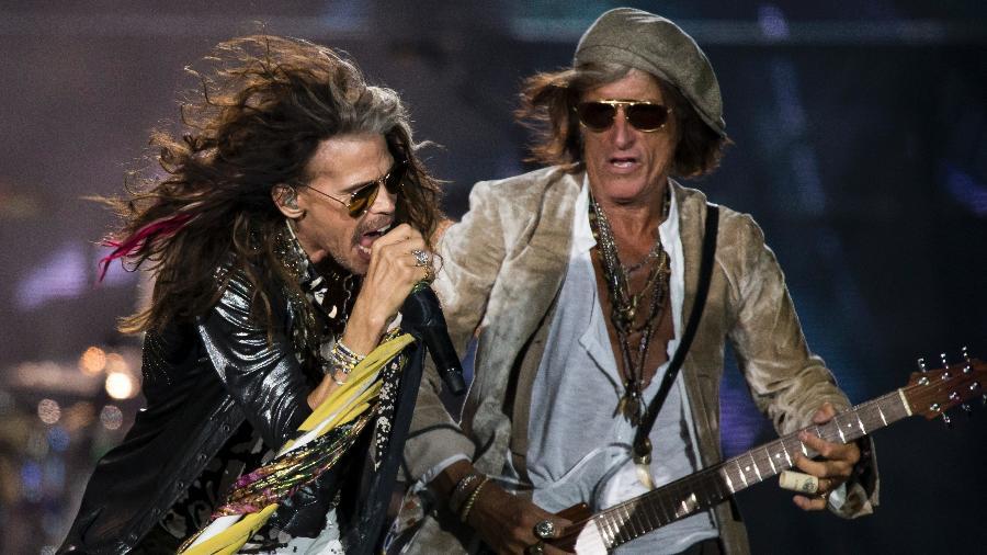 Steven Tyler, perto de completar 70 anos, entrega energia de sobra durante apresentação do Aerosmith no Rock in Rio - Bruna Prado/UOL