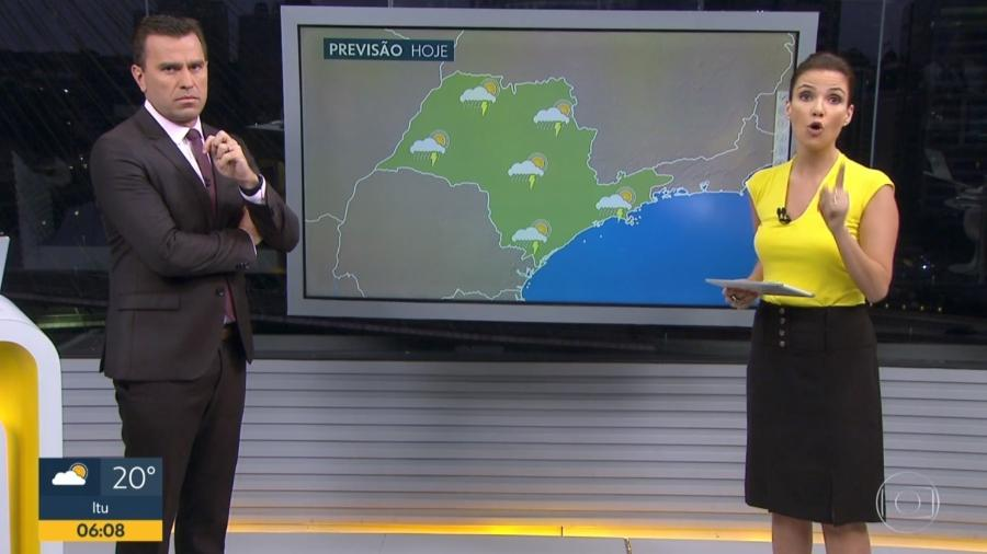 """Rodrigo Bocardi e Sabina Simonato dividem a bancada do """"Bom Dia SP"""" - Reprodução/Globo"""