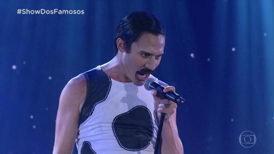 """Sivero Pereira interpreta Freddie Mercury no """"Show dos Famosos"""", competição do """"Domingão do Faustão"""" - Reprodução/TV Globo"""