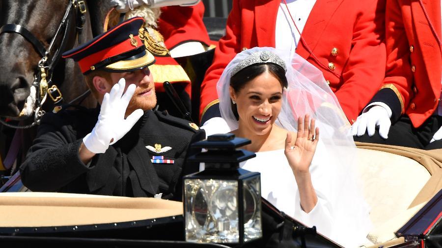 Harry e Meghan durante a procissão pós-casamento - Getty Images