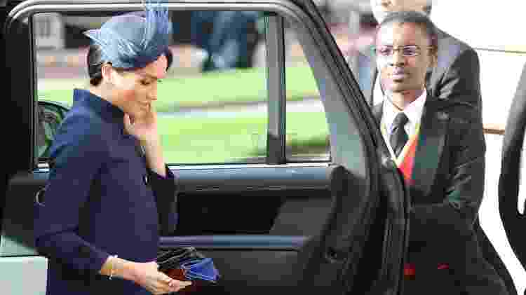 Meghan, a duquesa de Sussex, na chegada à cerimônia do casamento da princesa Eugenie - Getty Images - Getty Images