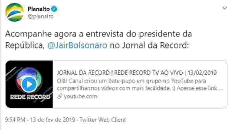 Perfil do Planalto divulga canal que pirateia sinal da Record - Reprodução/Twitter - Reprodução/Twitter