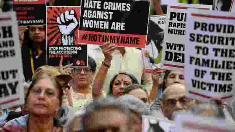 Mulheres indianas protestam contra estupros recorrentes na Índia - AFP - AFP