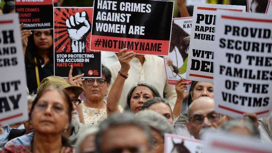 Mulheres indianas protestam contra estupros recorrentes na Índia - AFP