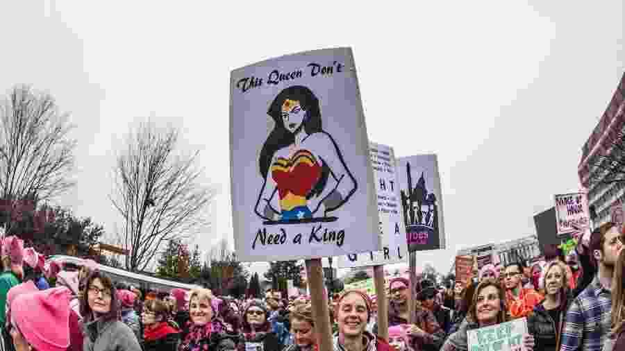 Participantes da Marcha das Mulheres em Washington (EUA), em 2017 - Bill Tompkins/Getty Images