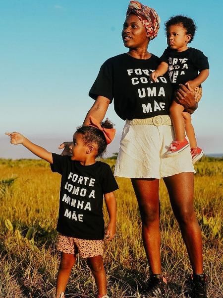 A influenciadora Andressa Reis, de Nova Iguaçu (RJ), com os filhos Maria Antonia, 3, e Caetano, 1;seu vídeo sobre carga mental da mulher viralizou - Reprodução/Instagram