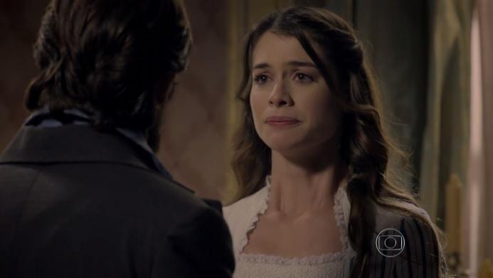 Lívia (Alinne Moraes) encara Felipe (Rafael Cardoso) em
