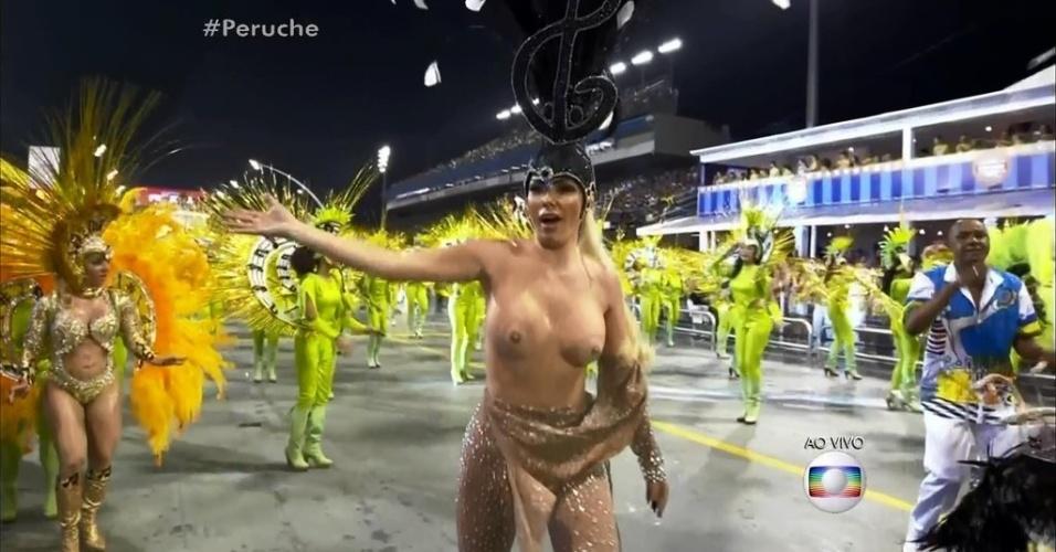 Destaque da Unidos do Peruche, Ju Isen tira fantasia e é retirada de desfile