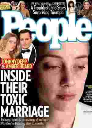 """""""People"""" divulga capa com nova foto da atrz Amber Heard machucada - Divulgação/People"""
