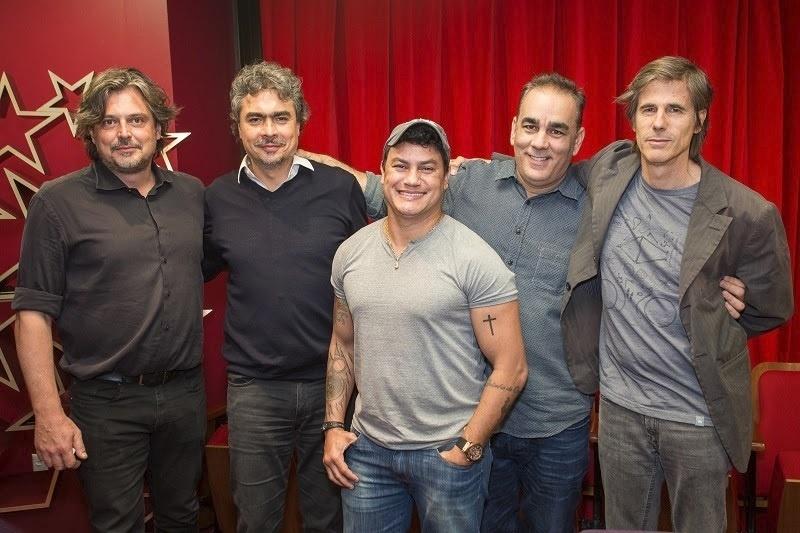 Fabiano Gullane (produtor executivo da série sobre Popó), Rogério Gallo (vice-presidente dos canais de Entretenimento da Turner Brasil), o ex-boxeador Acelino