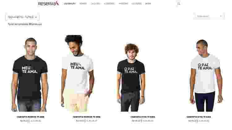 Reprodução do site da Reserva com as camisetas com letras da música