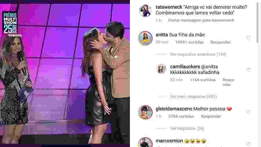 Tatá Werneck faz post zoando beijo de Anitta, que comenta - Reprodução/Instagram