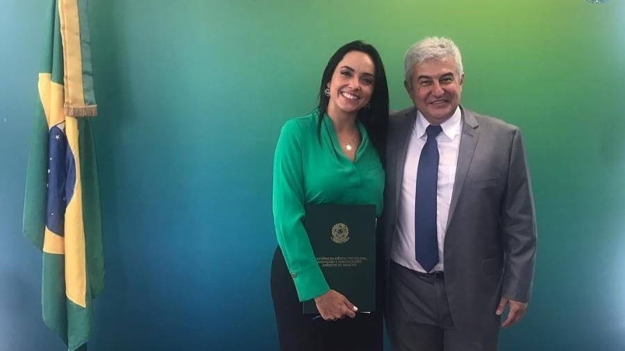 Izabella Camargo e o ministro Marcos Pontes - Reprodução/Instagram/izabellacamargoreal