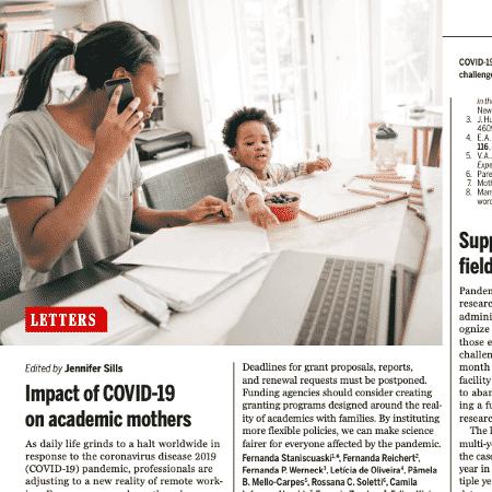 Artigo na revista Science sobre impacto da Covid-19 no trabalho de pesquisa de mulheres cientistas - Reprodução - Reprodução