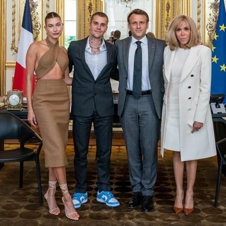 Justin Bieber e Hailey Bieber são criticados por looks em foto com presidente e primeira-dama da França