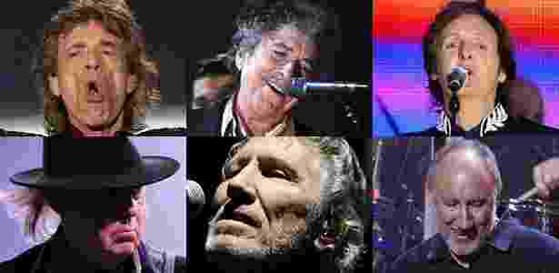 Rolling Stones, Bob Dylan, Paul McCartney, Neil Young, Roger Waters e The Who - Fotomontagem/UOL