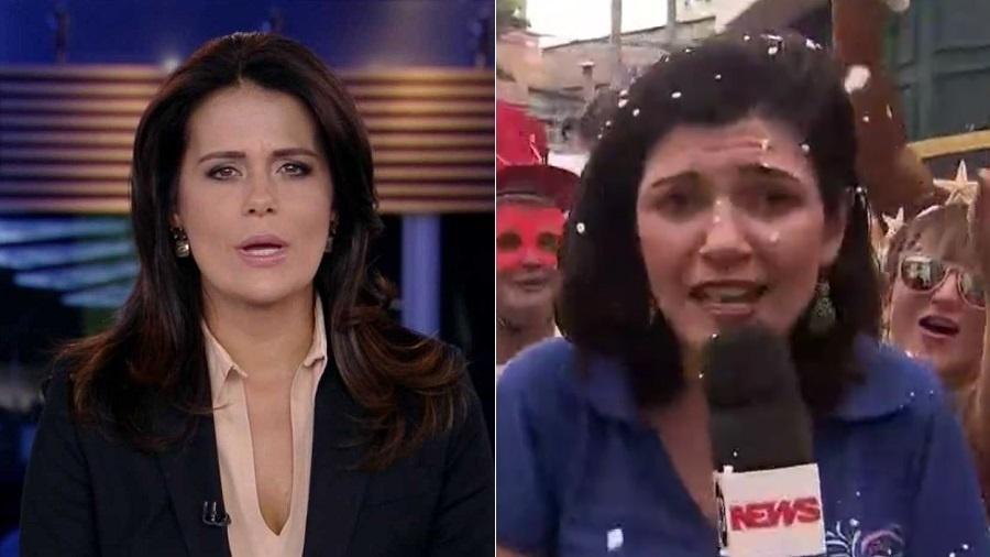 A apresentadora Adriana Araújo, da Record, criticou a cobertura do Carnaval na Globo e na GloboNews - Montagem/UOL