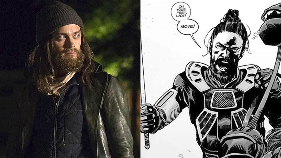 """Tom Payne na série """"Walking Dead"""" e o personagem Paul """"Jesus"""" Monroe nos quadrinhos - Divulgação/AMC e Reprodução"""