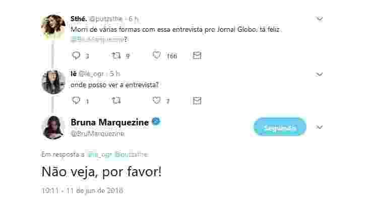 """Bruna Marquezine pede para fãs não lerem entrevista dela ao jornal """"O Globo"""" - Reprodução/Twitter/BruMarquezine - Reprodução/Twitter/BruMarquezine"""