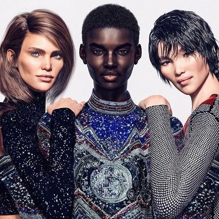 Modelos virtuais na campanha da Balmain - Reprodução/Instagram