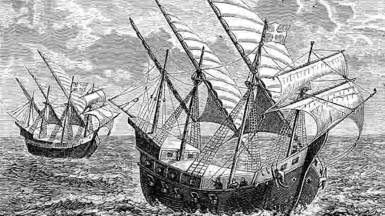 Navegações de Bartolomeu Dias em sua viagem ao Cabo da Boa Esperança - Getty Images - Getty Images