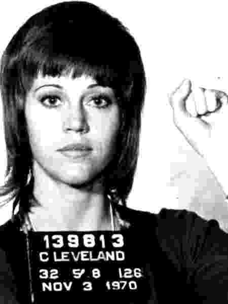 Jane Fonda em foto tirada na ocasião em que foi presa, em 1970 - Reprodução