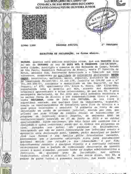 Escritura da retratação registrada por Bruna Drews inocentando José Luiz Datena da acusação de assédio sexual - Reprodução/Coluna Leo Dias - Reprodução/Coluna Leo Dias
