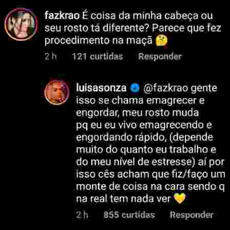 Luísa Sonza nega procedimento estético - Reprodução/Instagram @luisasonza - Reprodução/Instagram @luisasonza