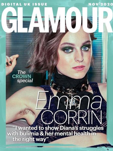 Emma Corrin deixou pelos nas áxilas à mostra em capa da Glamour - Reprodução/Instagram