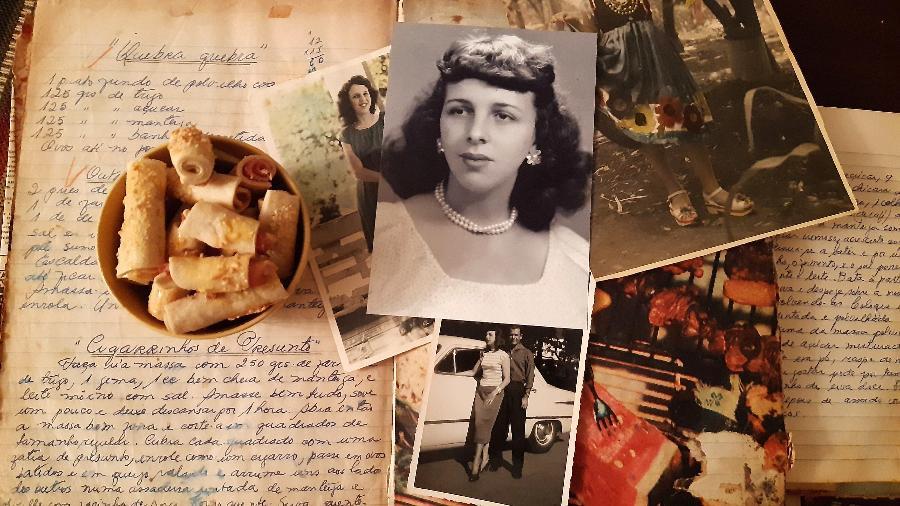Cadernos de receitas, cigarrinho de frios e retratos da vó Sandra e do vô Oswaldo - Juliana Simon