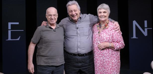 """Fúlvio Stefanini é entrevistado por Mauro Gianfrancesco e Karin Rodrigues no """"Persona em Foco"""" - Jair Magri/Divulgação"""