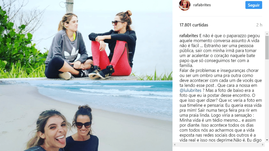 Rafa Brites postou desabafo sobre foto de paparazzo - Reprodução/Instagram