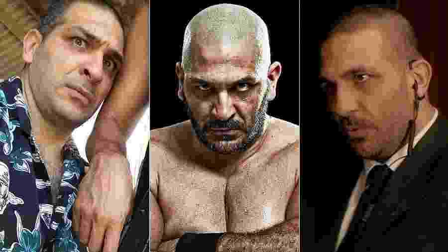 """O ator Miguel Nader nas séries """"Impuros"""" e """"Rio Heroes"""" e no filme """"Tudo Por Um Popstar"""" - Montagem/UOL/Reprodução"""