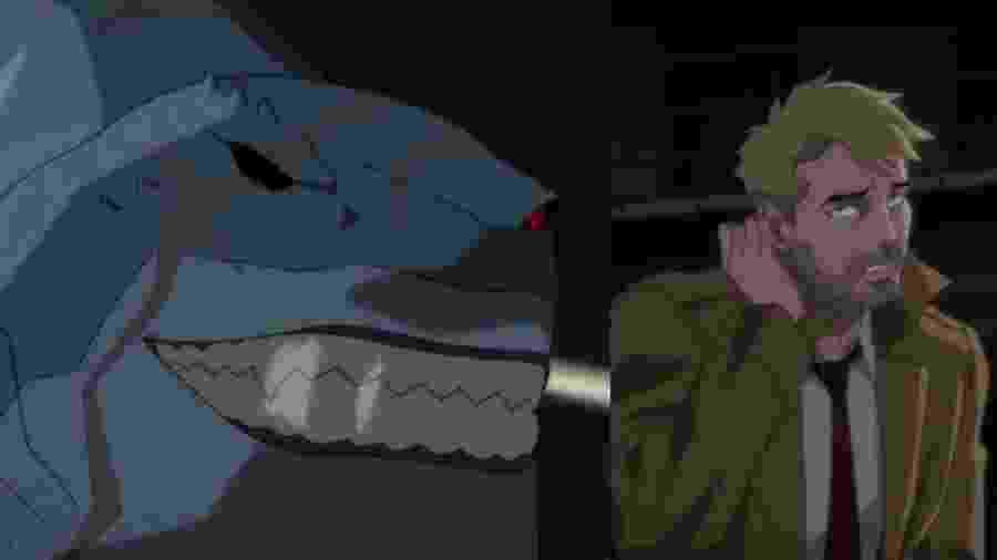 """Tubarão-Rei e John Constantine na animação """"Justice League Dark: Apokolips"""" - Reprodução/Twitter"""