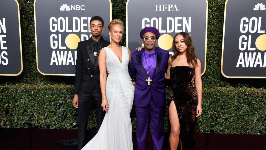 Jackson Lee, Tonya Lewis Lee, Spike Lee e Satchel Lee no Globo de Ouro de 2019 - Frazer Harrison/Getty Images