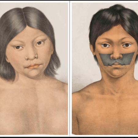 Desenho das crianças indígenas Miranha e Juri, sequestradas pelos cientistas alemães Spix e Martius - Reprodução
