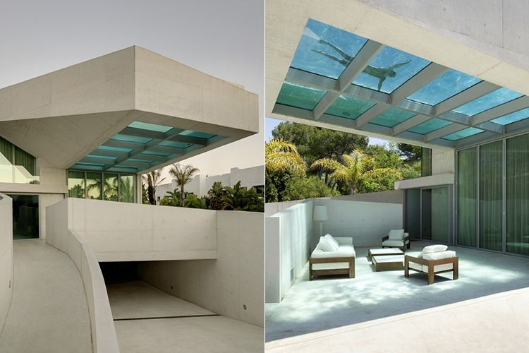 A equipe do Wiel Arets Architects (com escritórios na Holanda, Alemanha e Suíça) desenhou essa piscina no topo da Casa Jellyfish, localizada em Marbella, na costa mediterrânea da Espanha. Sua estrutura de vidro filtra os raios solares e ilumina naturalmente a área de estar externa