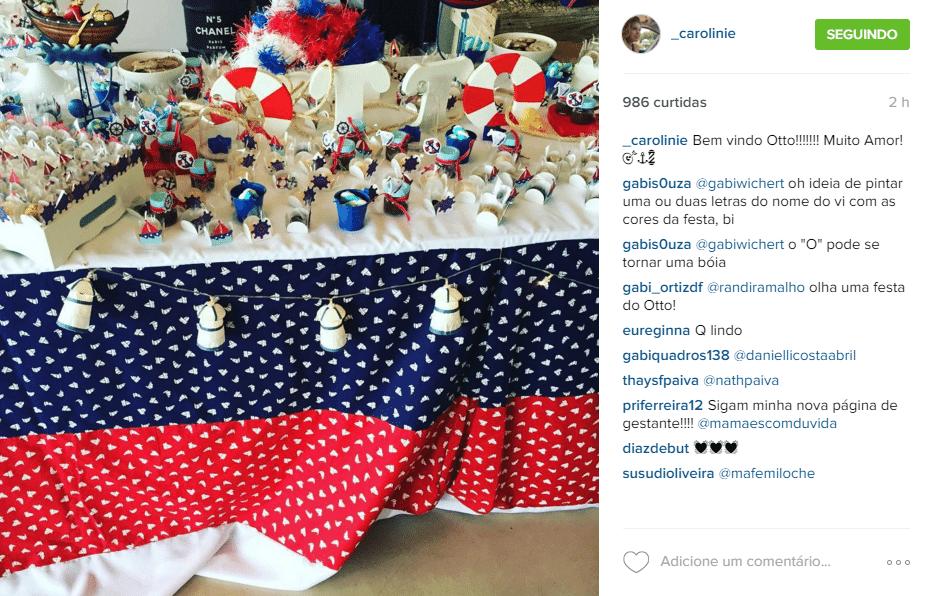 21.fv.2016 - Sophie Charlotte e Daniel de Oliveira fizeram uma festa de chá de bebê para o primeiro filho, Otto, neste domingo. Amigos dos atores compartilharam alguns momentos nas redes sociais