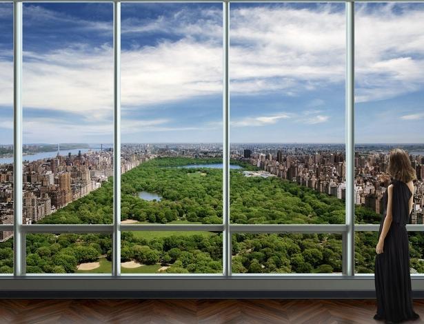 Prédio de alto padrão com vista para diferentes áreas de Nova York, como o Central Park