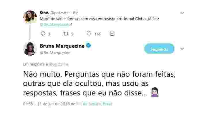 """Bruna Marquezine diz que não gostou de entrevista concedida ao jornal """"O Globo"""" - Reprodução/Twitter/BruMarquezine - Reprodução/Twitter/BruMarquezine"""