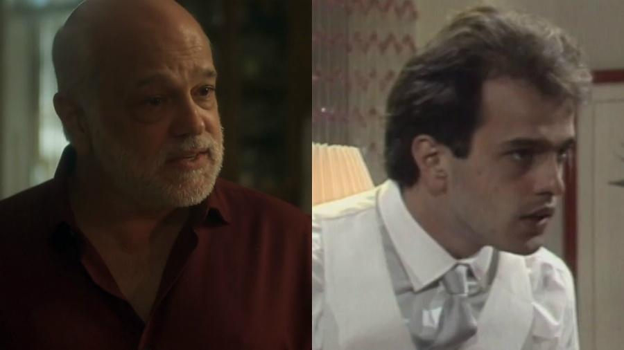 """Jayme Periard em cena de """"Segundo Sol"""" (2018) e em """"Brega e Chique"""" (1987) - Reprodução/Globo/Montagem UOL"""