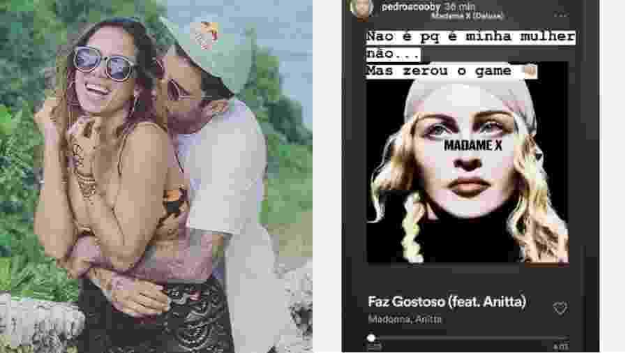 Pedro Scooby elogia música da namorada, Anitta, com Madonna - Reprodução/Instagram