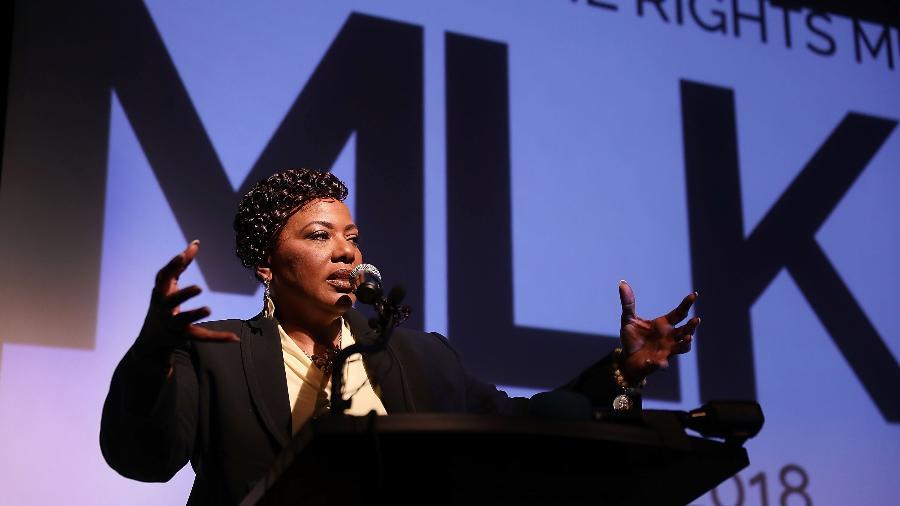 A reverenda Dr. Bernice King, filha de Martin Luther King Jr., durante discurso no museu National Civil Rights, em 2018, em Memphis - Joe Raedle/Getty Images