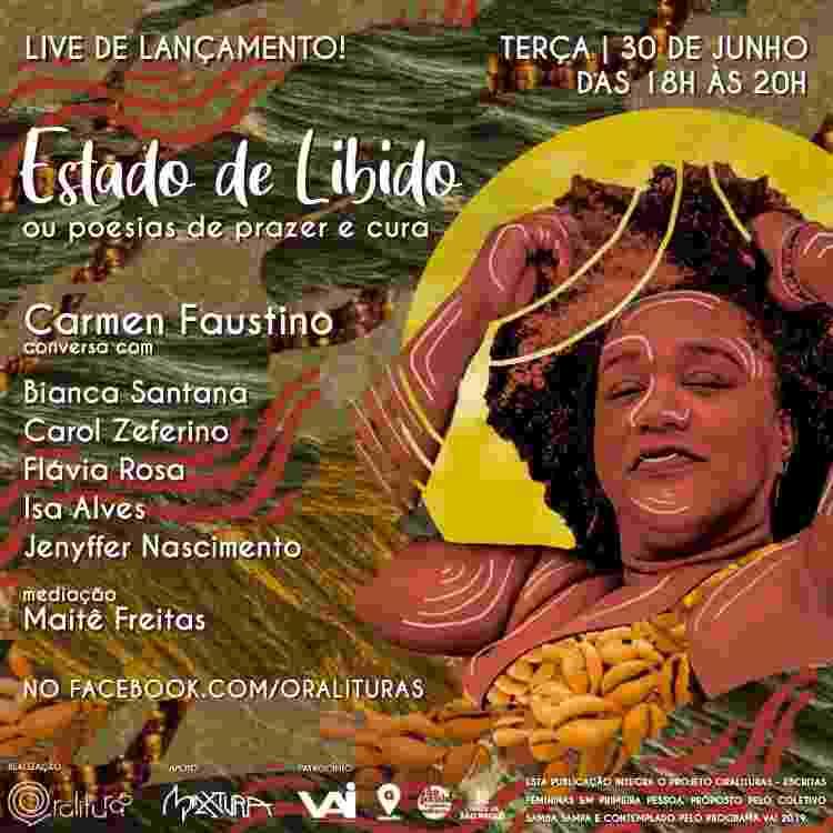Flyer de divulgação da live de lançamento do livro de Carmen Faustino - Divulgação - Divulgação