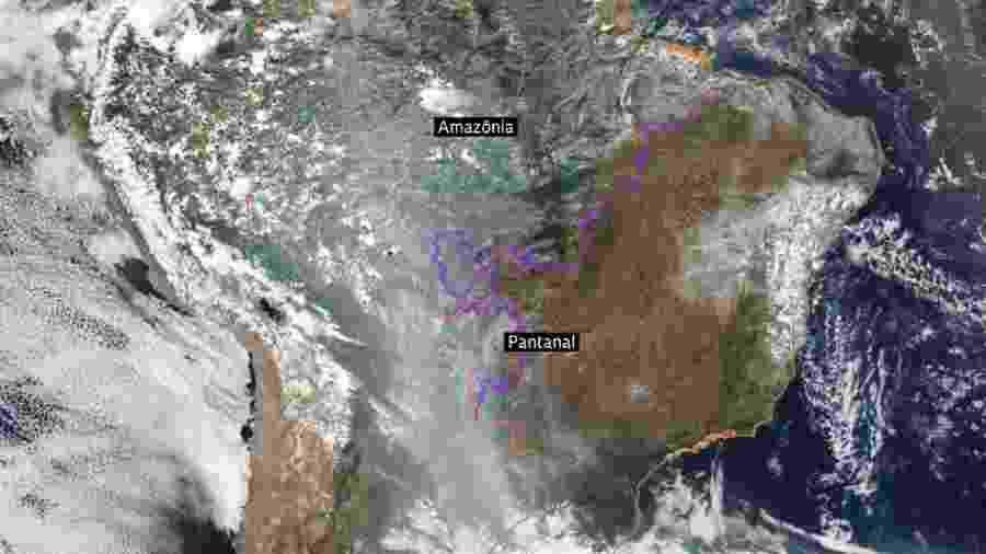 Sistema de monitoramento de queimadas permite enxergar a concentração de fumaça sobre a Amazônia e o Pantanal e se espalhando para o sul, em 14 de setembro - Inpe